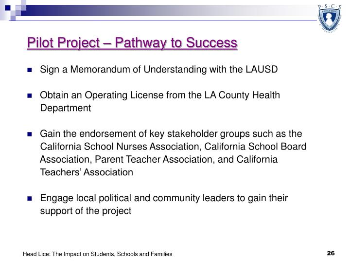 Pilot Project – Pathway to Success