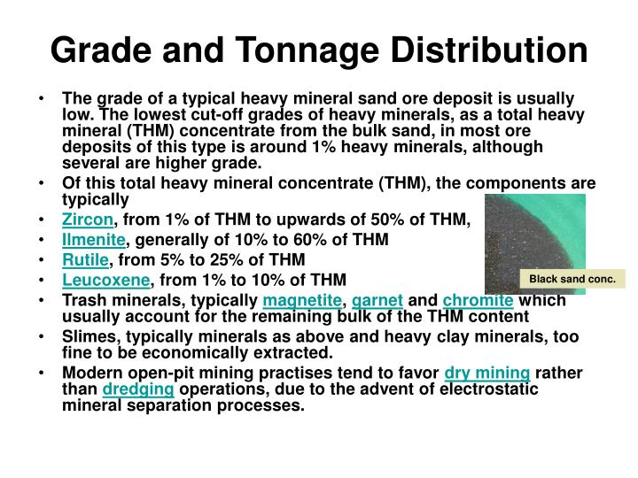 Grade and Tonnage Distribution