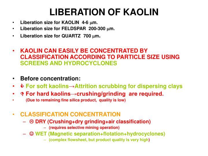 LIBERATION OF KAOLIN