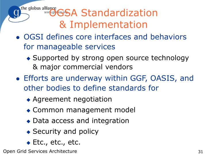 OGSA Standardization