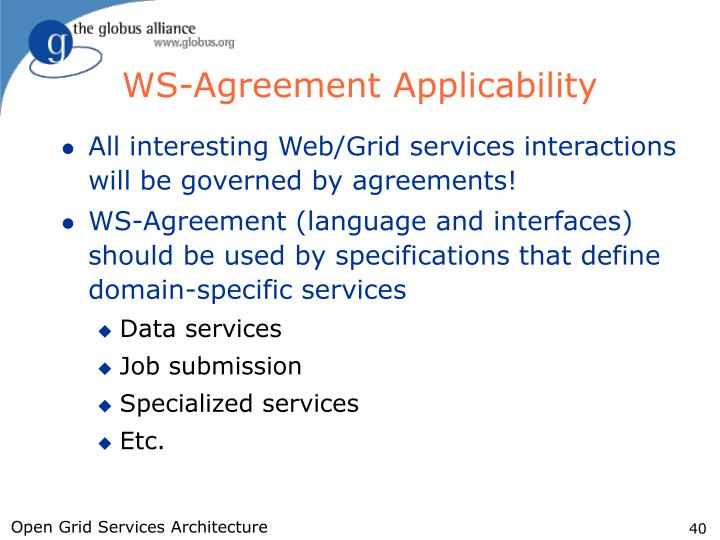 WS-Agreement Applicability
