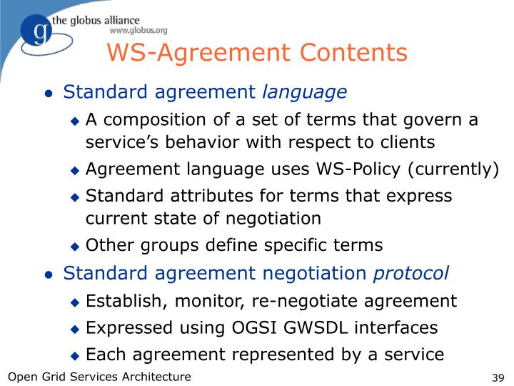WS-Agreement Contents