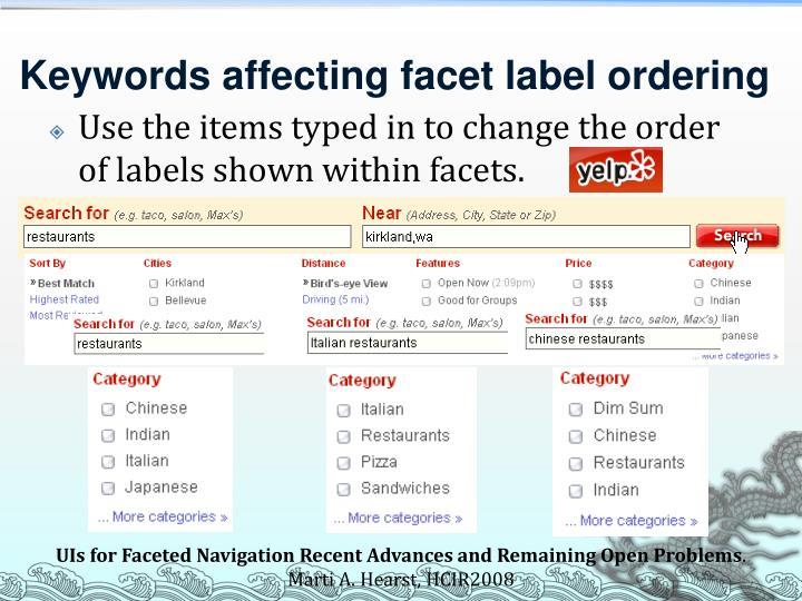 Keywords affecting facet label ordering