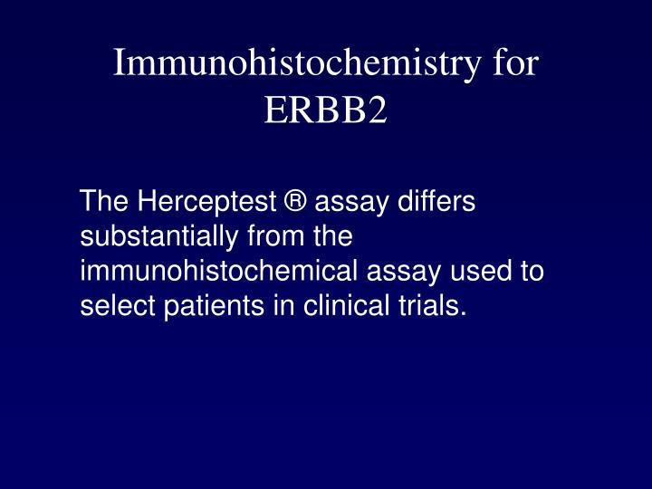 Immunohistochemistry for ERBB2