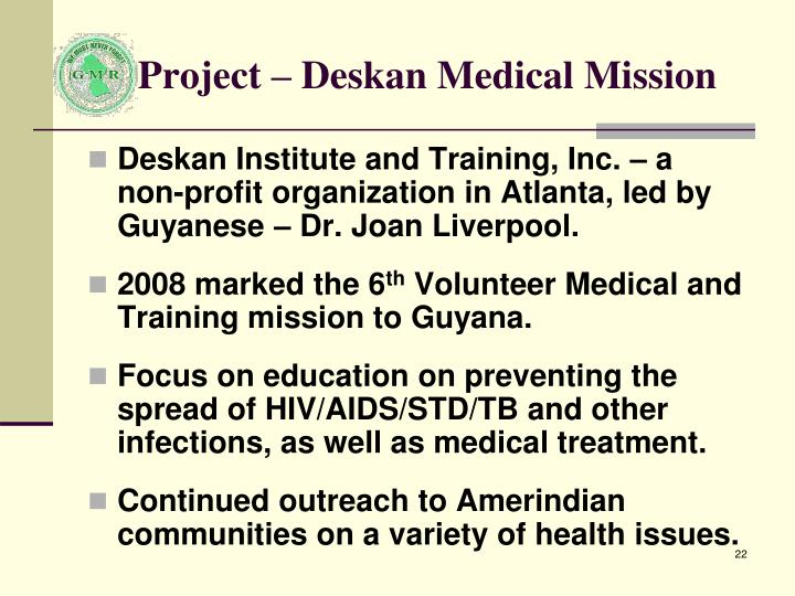 Project – Deskan Medical Mission