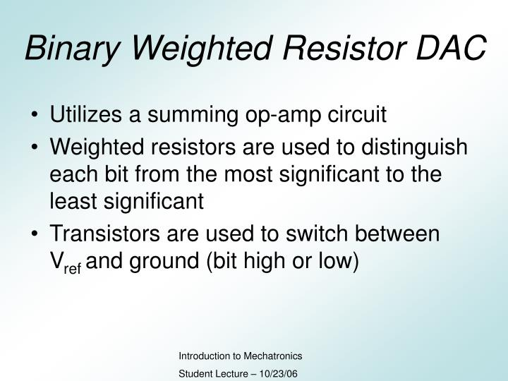 Binary Weighted Resistor DAC