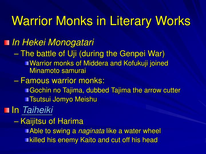 Warrior Monks in Literary Works