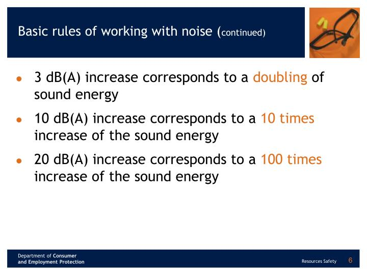 Basic rules of working with noise (