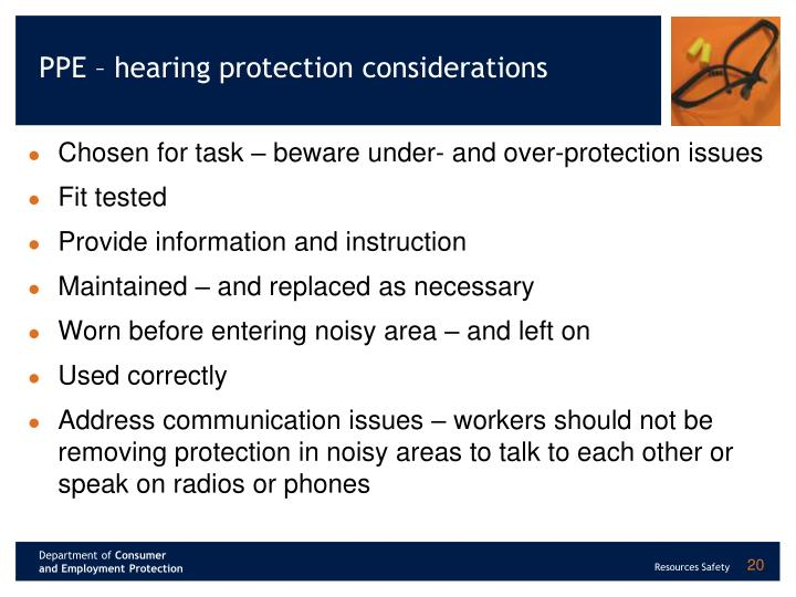 PPE – hearing protection considerations