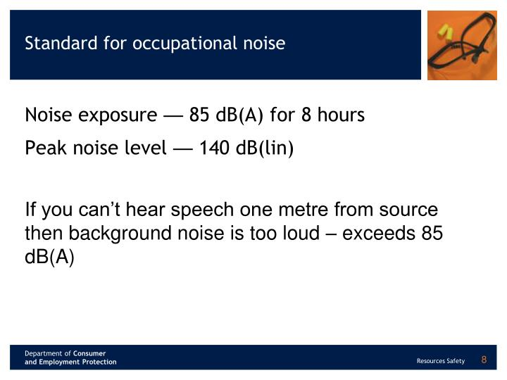 Standard for occupational noise