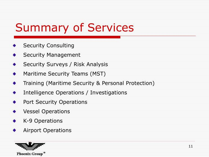 Summary of Services