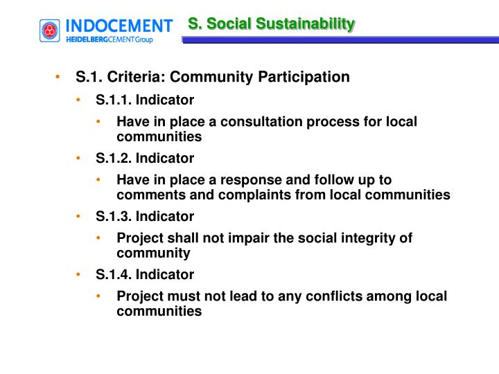 S. Social Sustainability