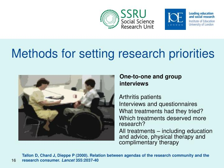 Methods for setting research priorities