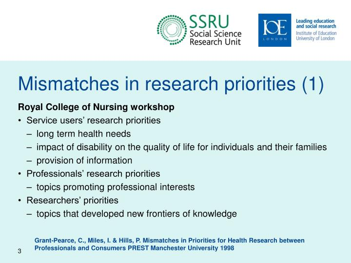 Mismatches in research priorities 1