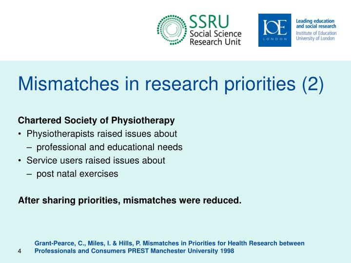 Mismatches in research priorities (2)