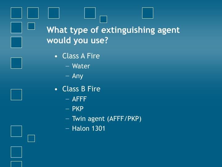 What type of extinguishing agent would you use?