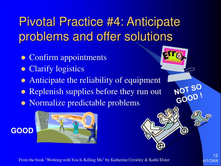Pivotal Practice #4: Anticipate problems and offer solutions