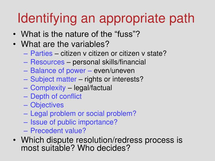 Identifying an appropriate path