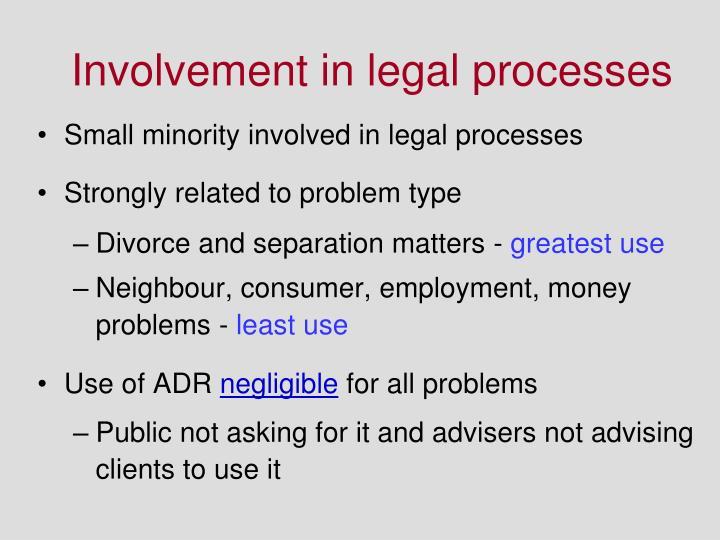 Involvement in legal processes