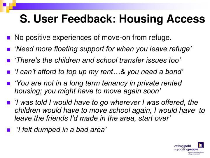 S. User Feedback: Housing Access
