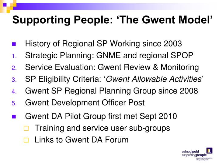 Supporting People: 'The Gwent Model'