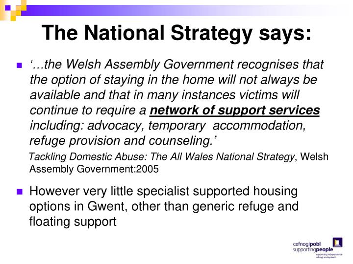 The National Strategy says:
