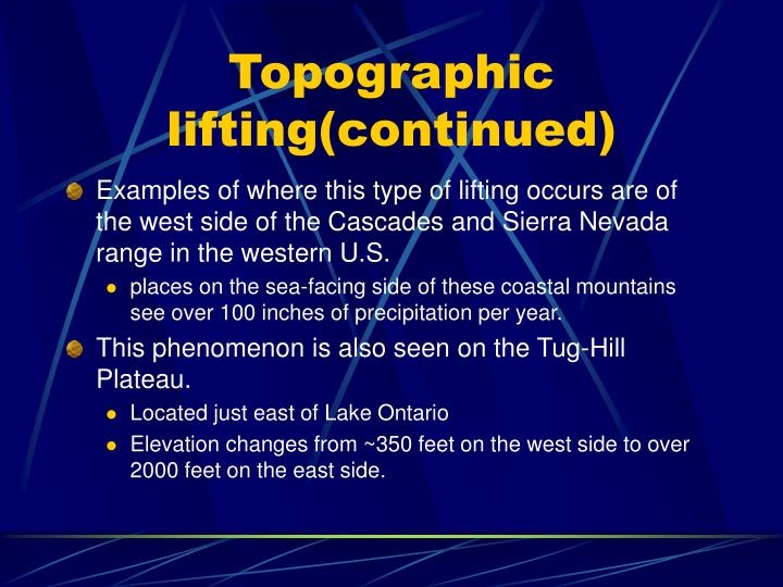 Topographic lifting(continued)