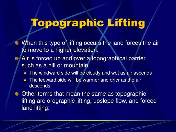 Topographic lifting