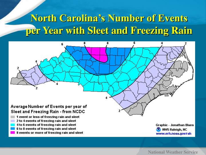 North Carolina's Number of Events per Year with Sleet and Freezing Rain