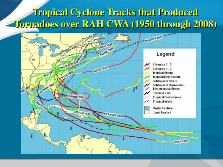 Tropical Cyclone Tracks that Produced Tornadoes over RAH CWA (1950 through 2008)