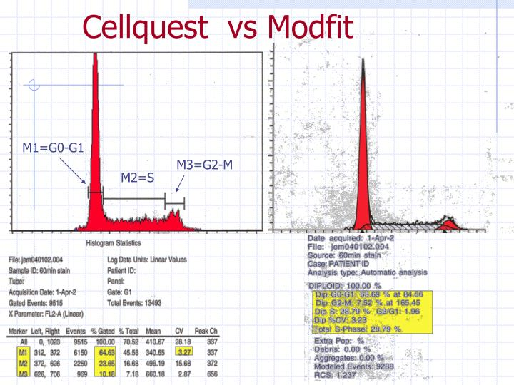 Cellquest  vs Modfit