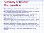 summary of doublet discrimination