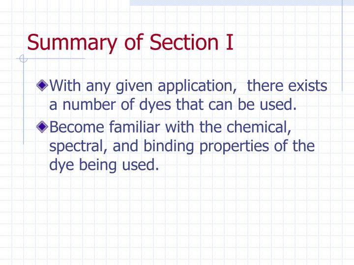 Summary of Section I