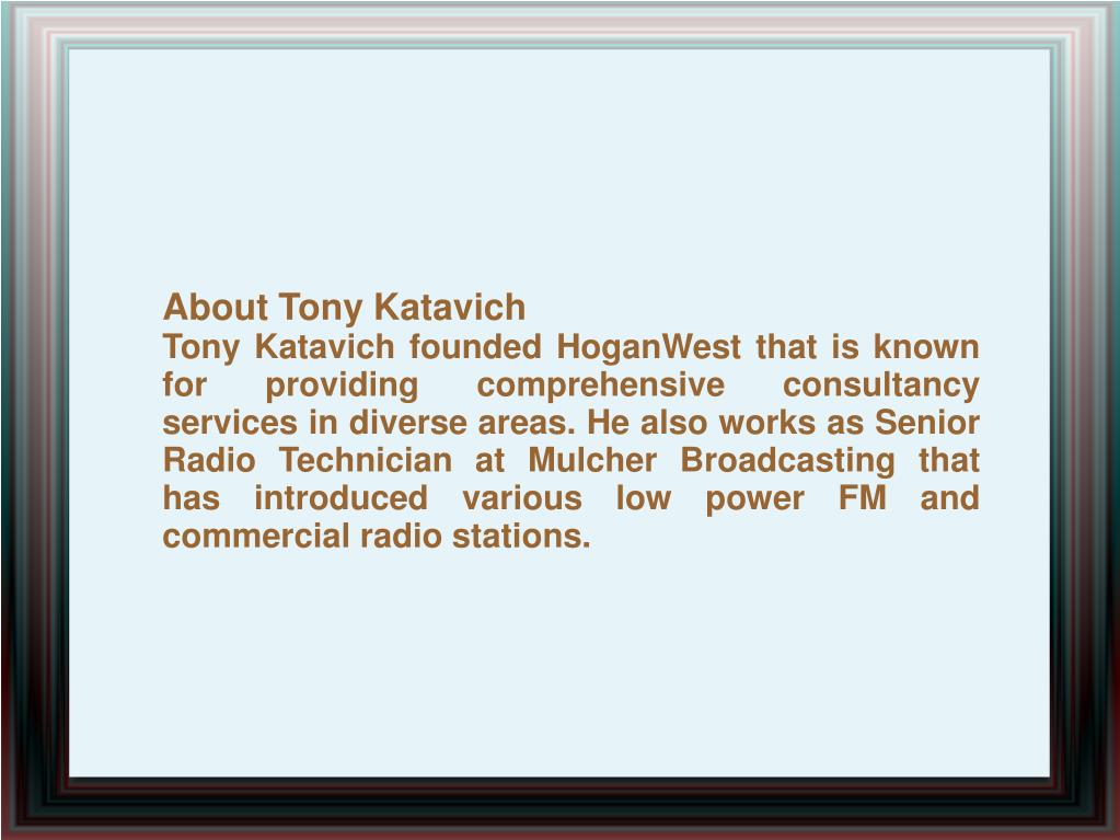 About Tony Katavich