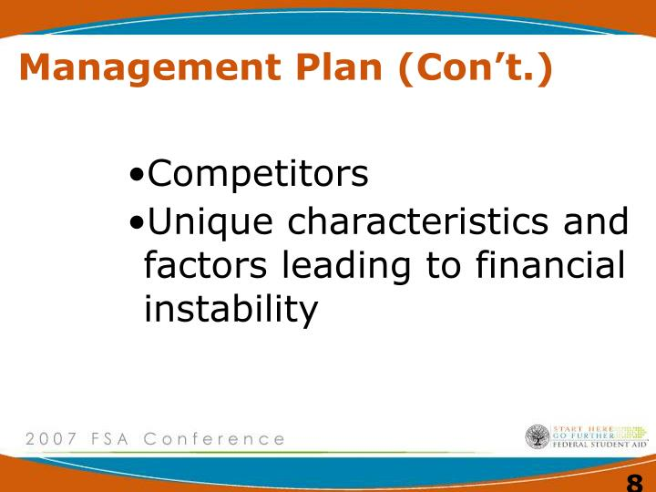 Management Plan (Con't.)