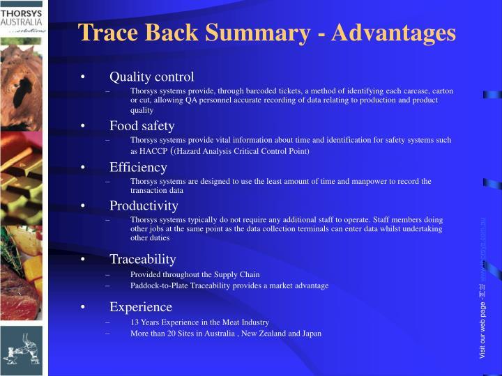 Trace Back Summary - Advantages