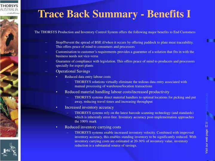 Trace Back Summary - Benefits I
