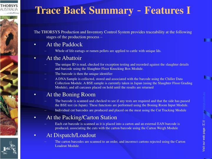 Trace Back Summary