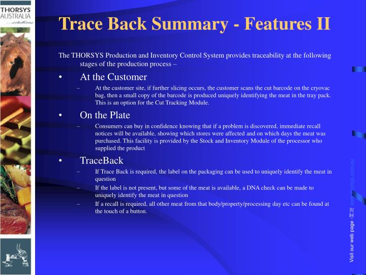 Trace Back Summary - Features II