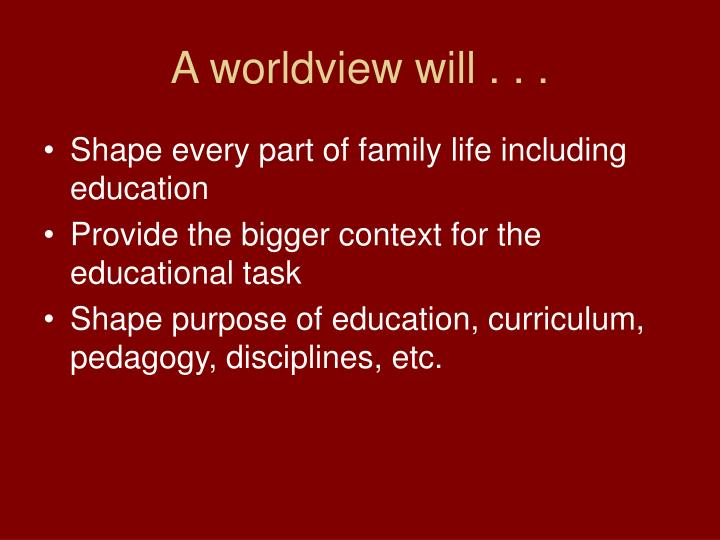 A worldview will . . .