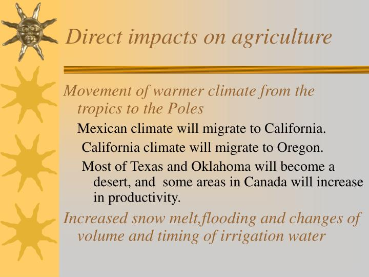 Direct impacts on agriculture
