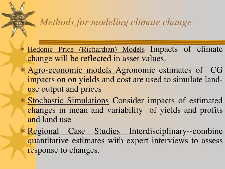 Methods for modeling climate change