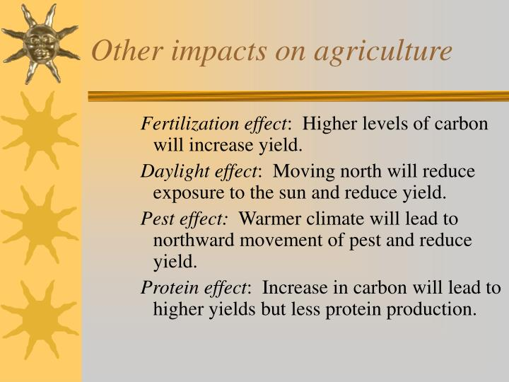Other impacts on agriculture