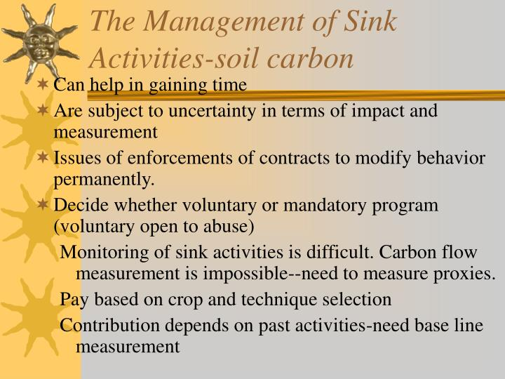The Management of Sink Activities-soil carbon