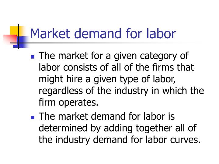 Market demand for labor