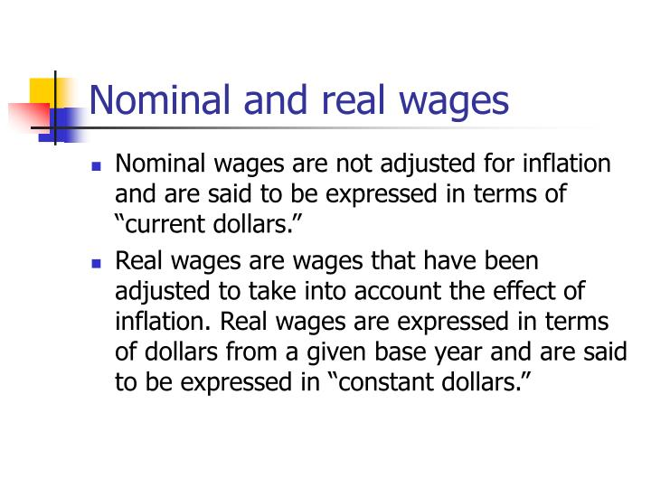 Nominal and real wages