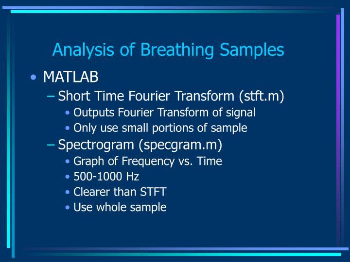 Analysis of Breathing Samples
