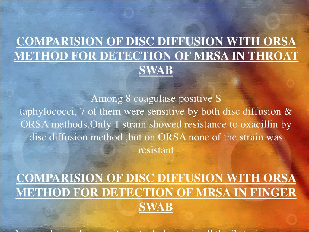 COMPARISION OF DISC DIFFUSION WITH ORSA METHOD FOR DETECTION OF MRSA IN THROAT SWAB