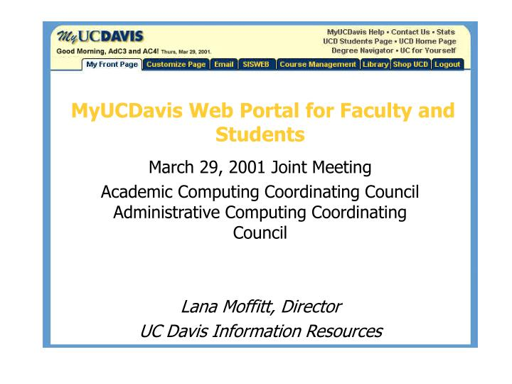 Myucdavis web portal for faculty and students