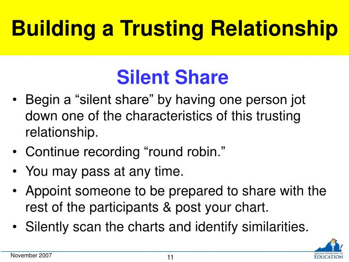 Building a Trusting Relationship